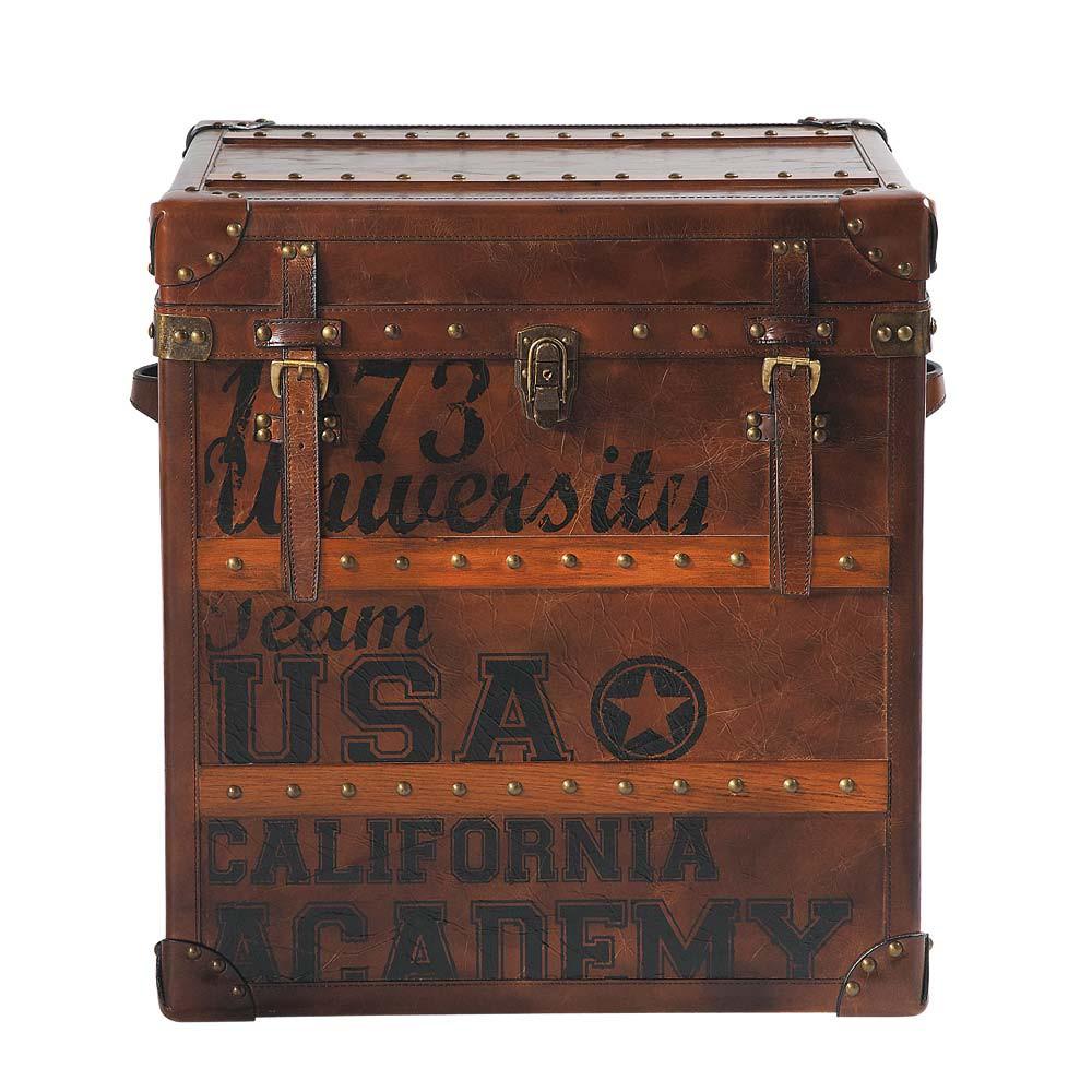 Malle imprim e en cuir marron l 56 cm usa stamps maisons du monde - Malle en cuir vintage ...