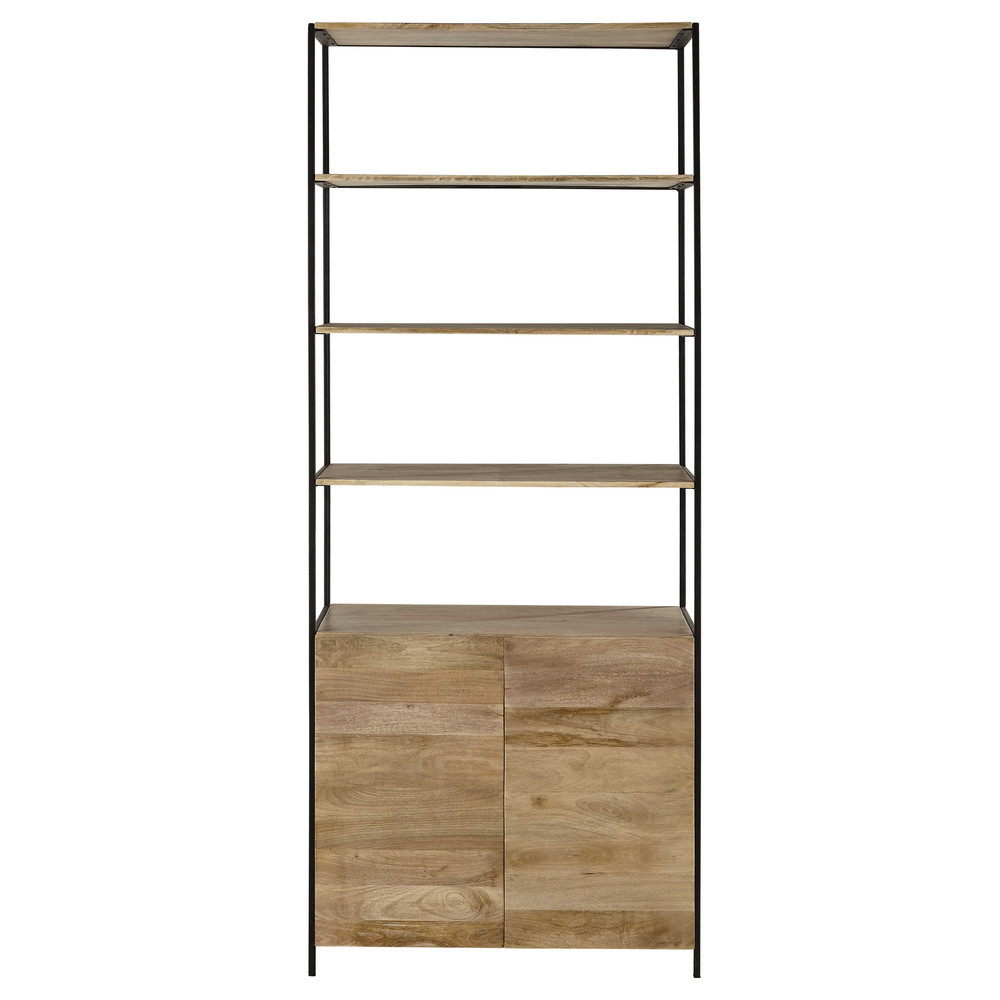 Mango Wood And Black Metal Bookcase L 85cm Wilson