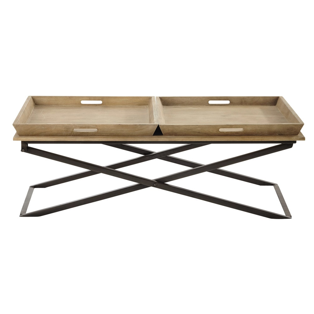 Aluminum And Wood Coffee Table: Mango Wood And Metal Coffee Table W 120cm Hippolyte