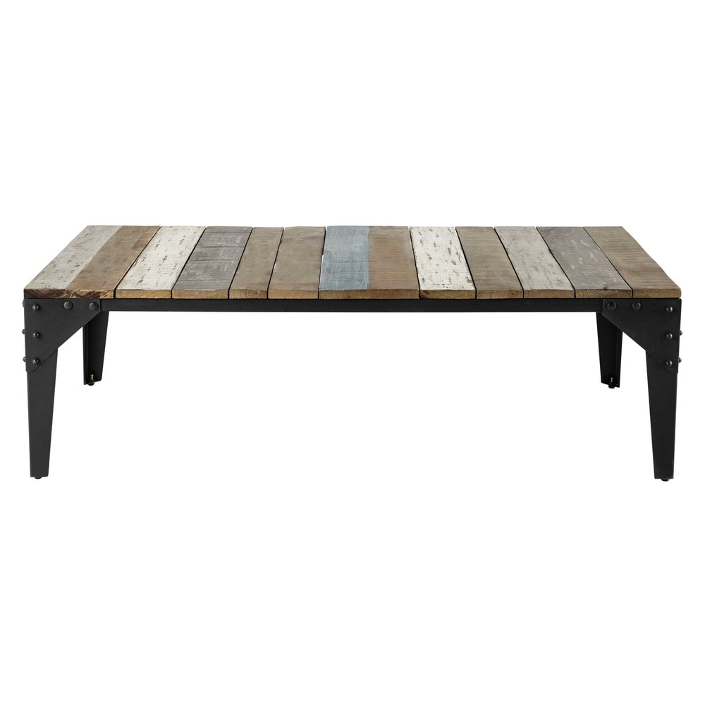 Mango wood and metal coffee table w 130cm sailor maisons - Table maison du monde ...