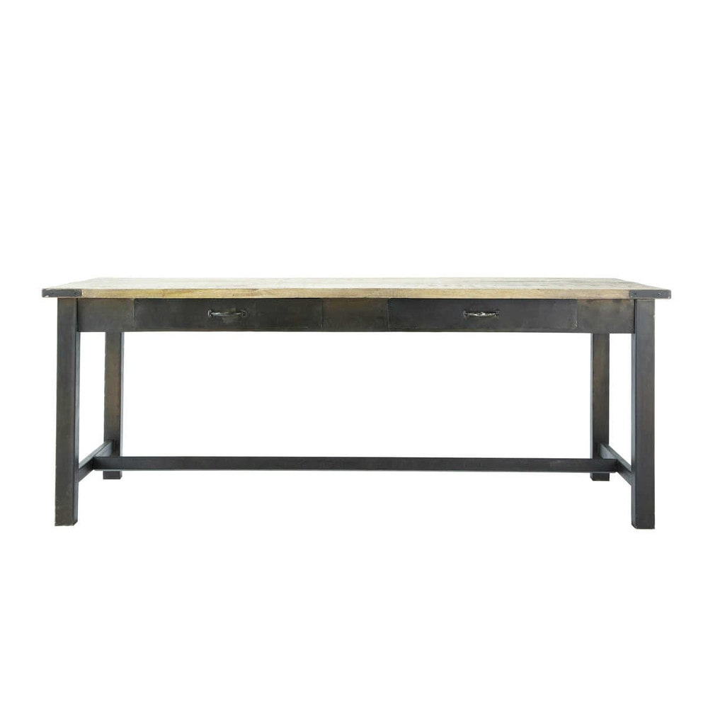 mango wood and metal dining table w 200cm alfred maisons. Black Bedroom Furniture Sets. Home Design Ideas