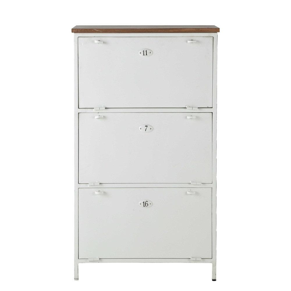 mango wood and metal shoe cabinet in white w 72cm copernic maisons du monde. Black Bedroom Furniture Sets. Home Design Ideas