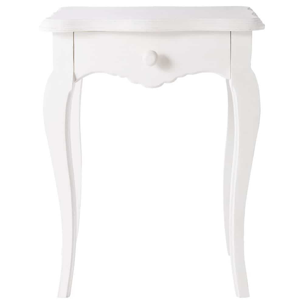 Mango wood bedside table with drawer in ivory w 45cm - Table de chevet murale contemporaine ...