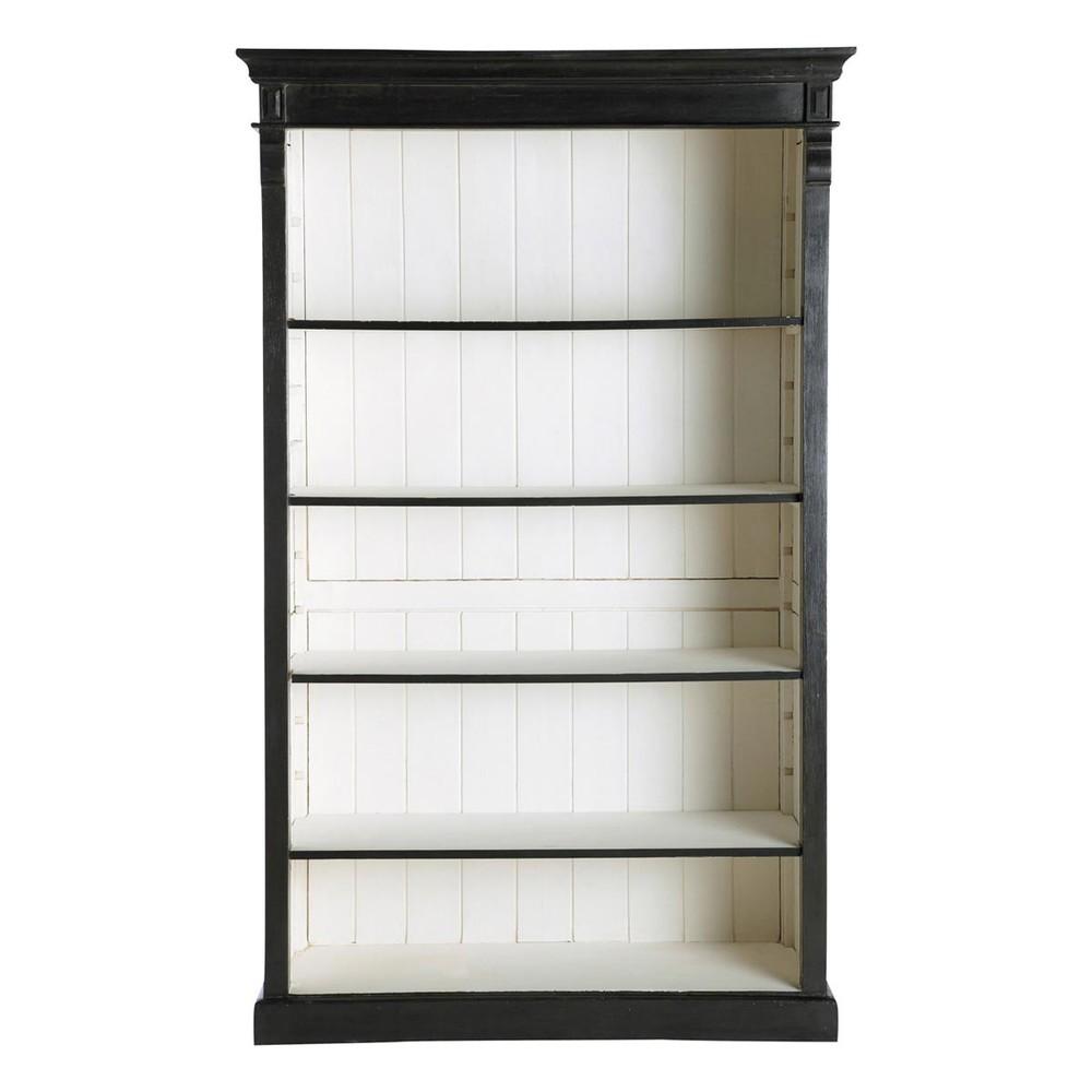 mango wood bookcase in black w 120cm descartes maisons du monde. Black Bedroom Furniture Sets. Home Design Ideas