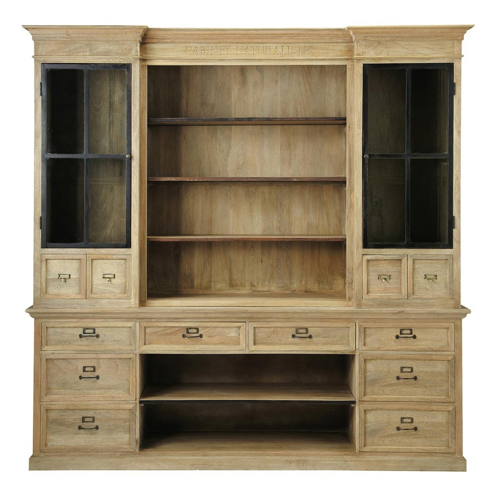 Mango wood bookcase w 235cm naturaliste maisons du monde for Maison de monde uk