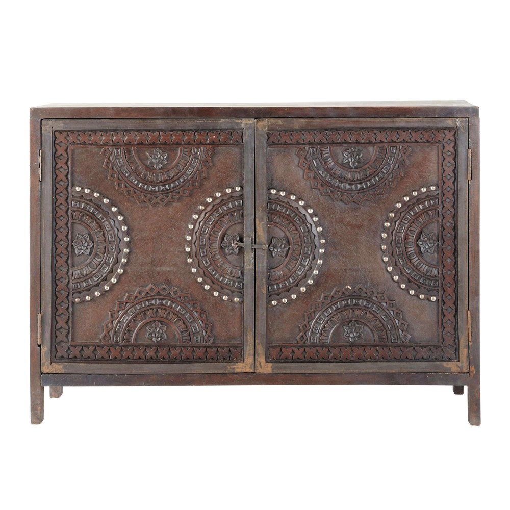 Mango wood carved sideboard in brown w 115cm mozambique for Maison de monde uk