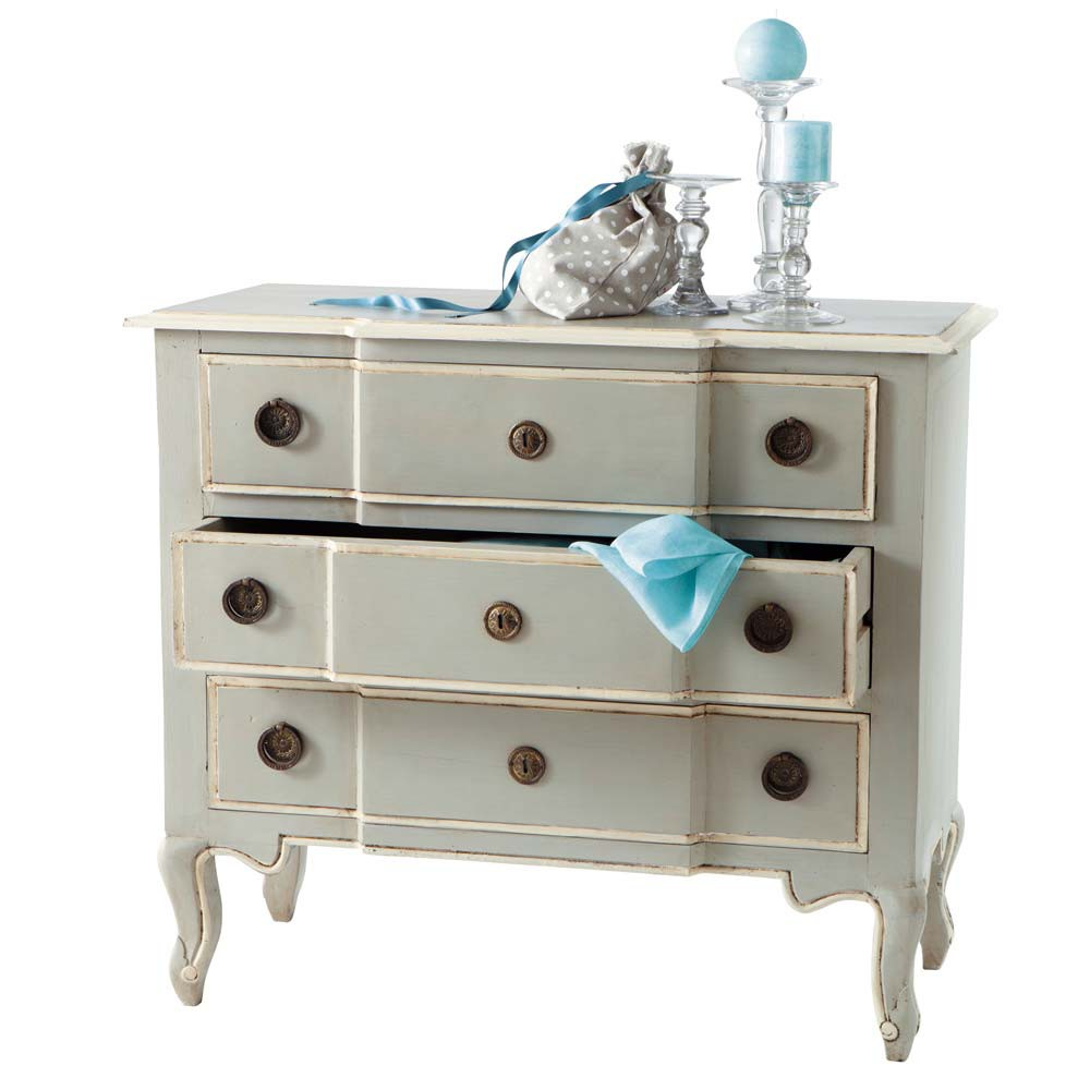 Mango wood chest of drawers in grey w 98cm beaumanoir for Armoire newport maison du monde
