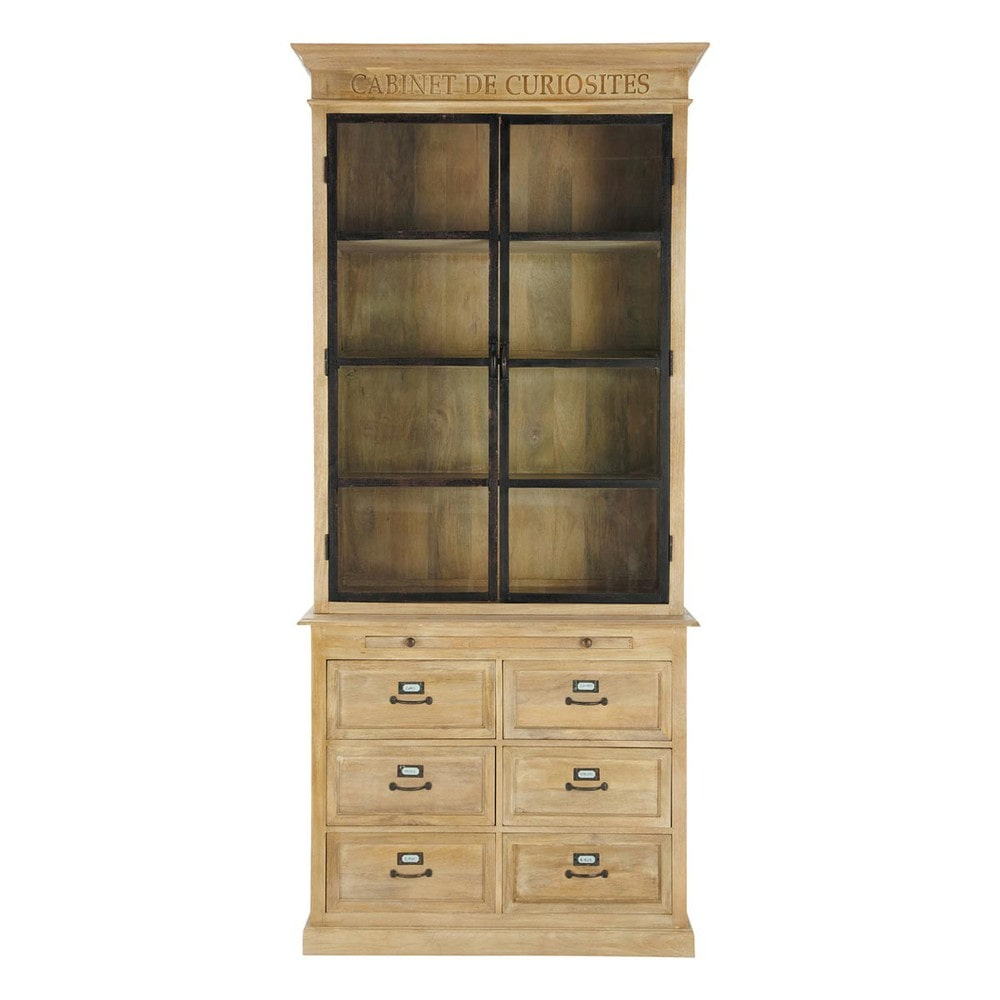 Wooden China Cabinet ~ Mango wood china cabinet w cm naturaliste maisons du