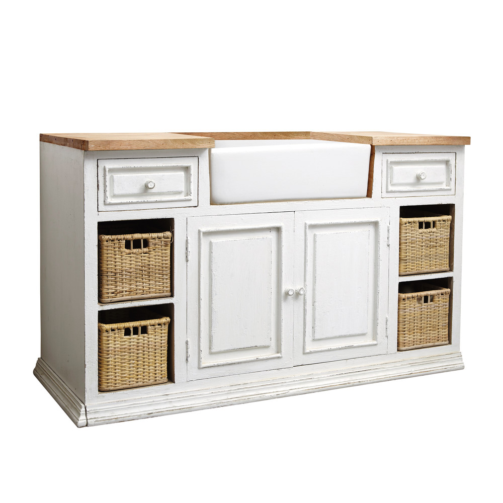 Mango wood kitchen sink unit in white w 140cm eleonore - Maisons du monde meuble tv ...