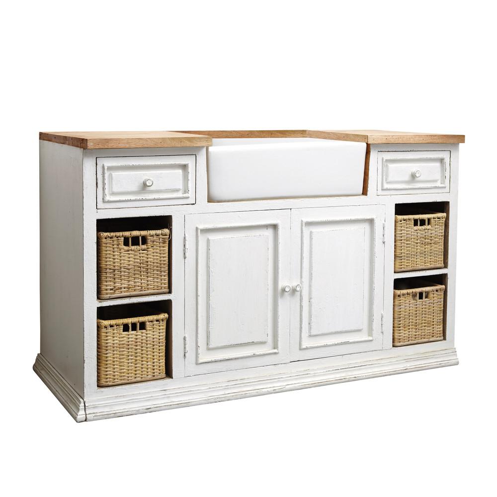Mango wood kitchen sink unit in white W 140cm Eleonore   Maisons ...