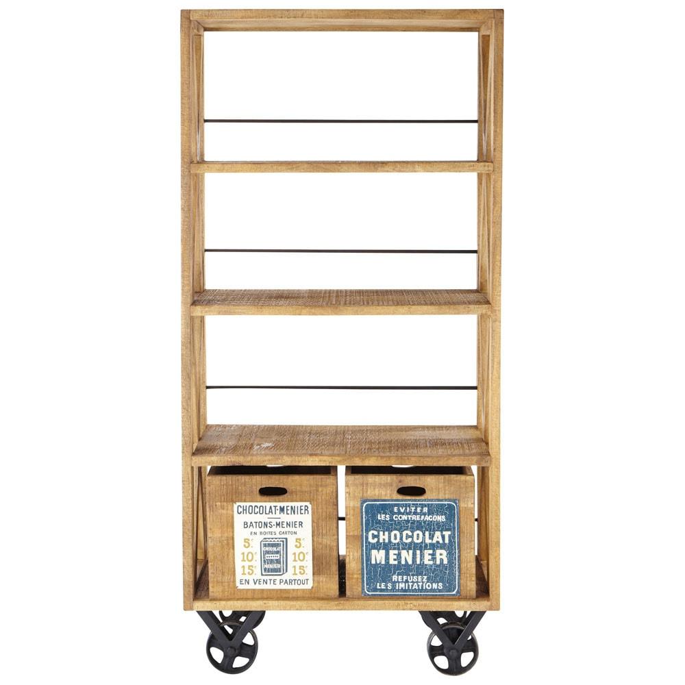mango wood shelf unit on castors w 90cm r tro maisons du. Black Bedroom Furniture Sets. Home Design Ideas