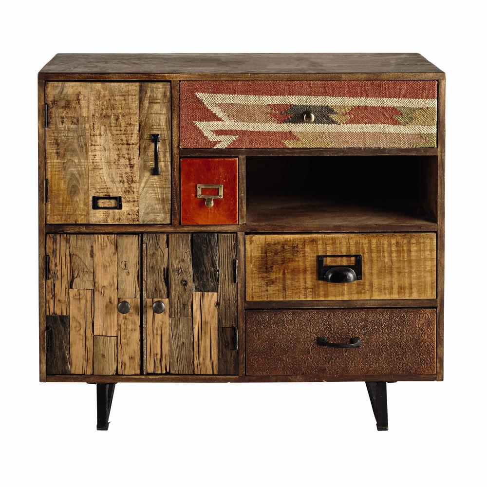 mango wood storage cabinet w 90cm kilim maisons du monde. Black Bedroom Furniture Sets. Home Design Ideas