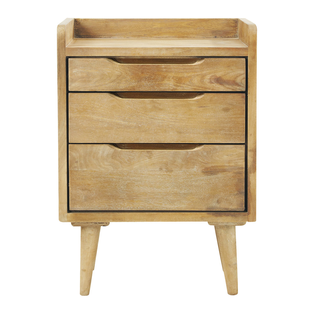 mango wood vintage bedside table with drawers w 45cm trocadero maisons du monde. Black Bedroom Furniture Sets. Home Design Ideas