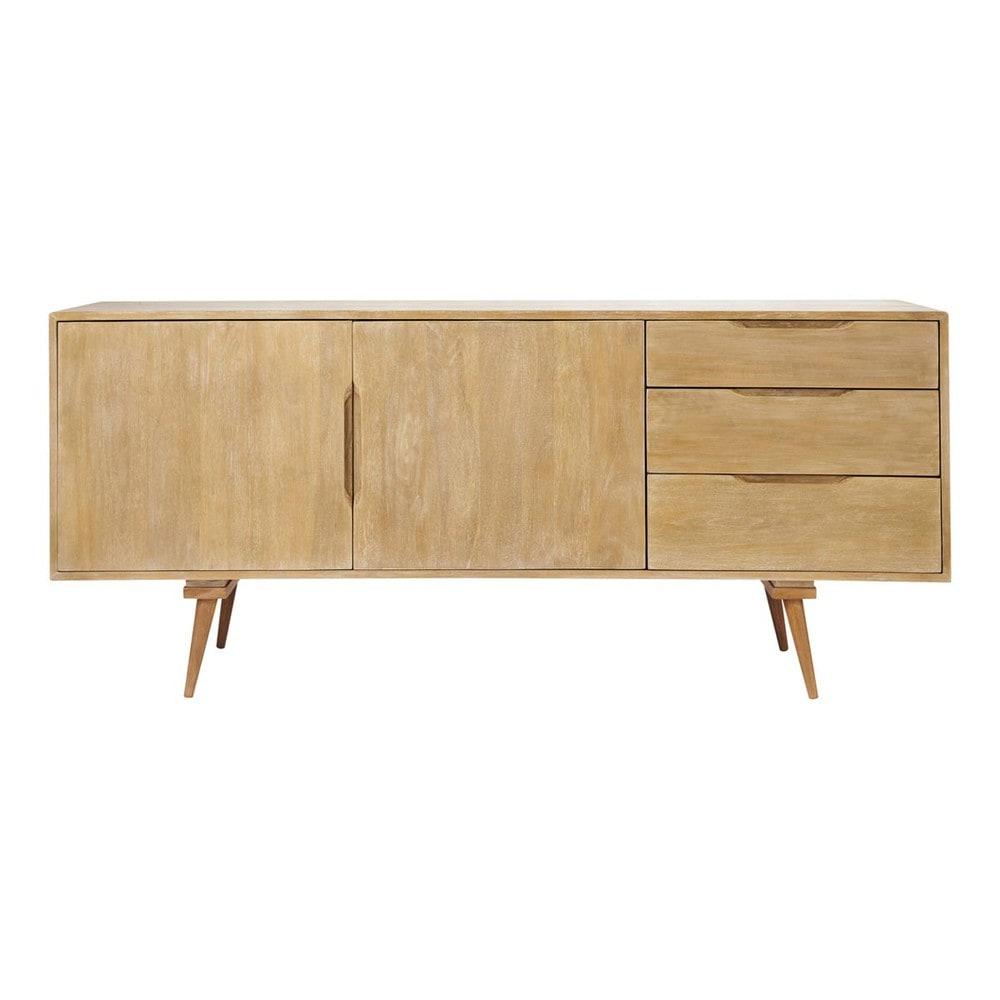 mango wood vintage long sideboard w 167cm trocadero maisons du monde. Black Bedroom Furniture Sets. Home Design Ideas