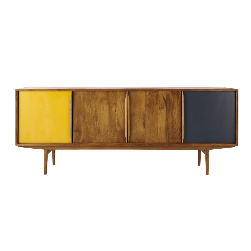 mango wood vintage sideboard in grey yellow w 220cm. Black Bedroom Furniture Sets. Home Design Ideas