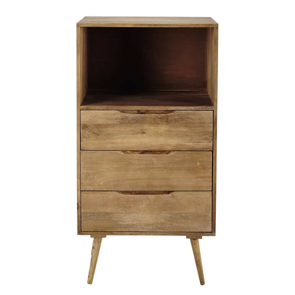 mango wood vintage tall chest of drawers w 60cm trocadero maisons du monde. Black Bedroom Furniture Sets. Home Design Ideas