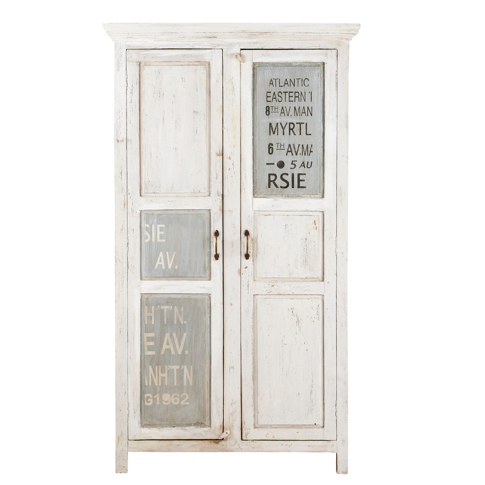 Mango wood wardrobe in white with distressed finish w for Armoire newport maison du monde