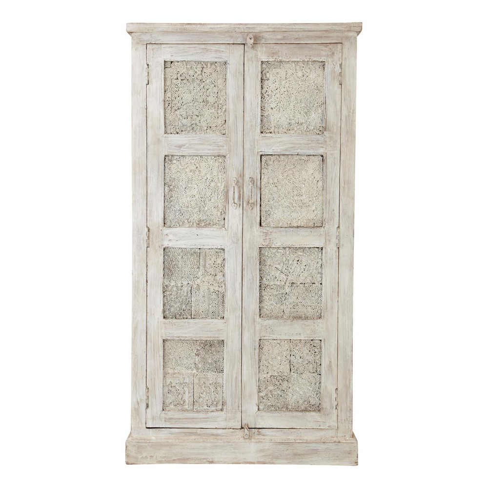 mango wood wardrobe in white with distressed finish w 90cm. Black Bedroom Furniture Sets. Home Design Ideas