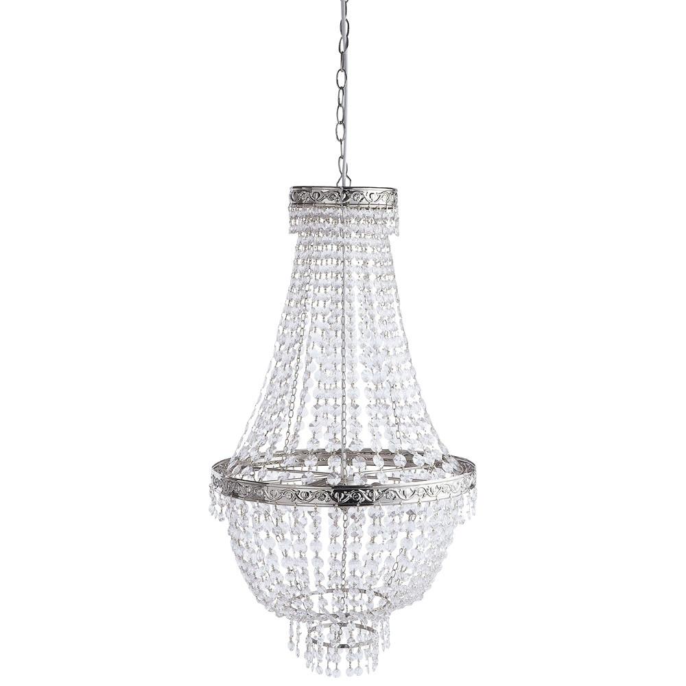 manoir metal droplet chandelier in chrome finish d 43cm. Black Bedroom Furniture Sets. Home Design Ideas