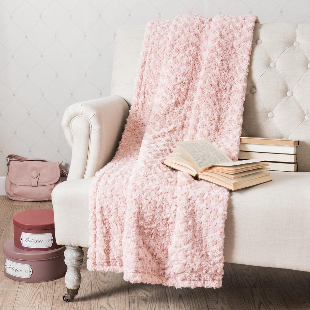 Manta de imitaci n de piel rosa 125 x 150 cm lilas - Mantas de piel ...