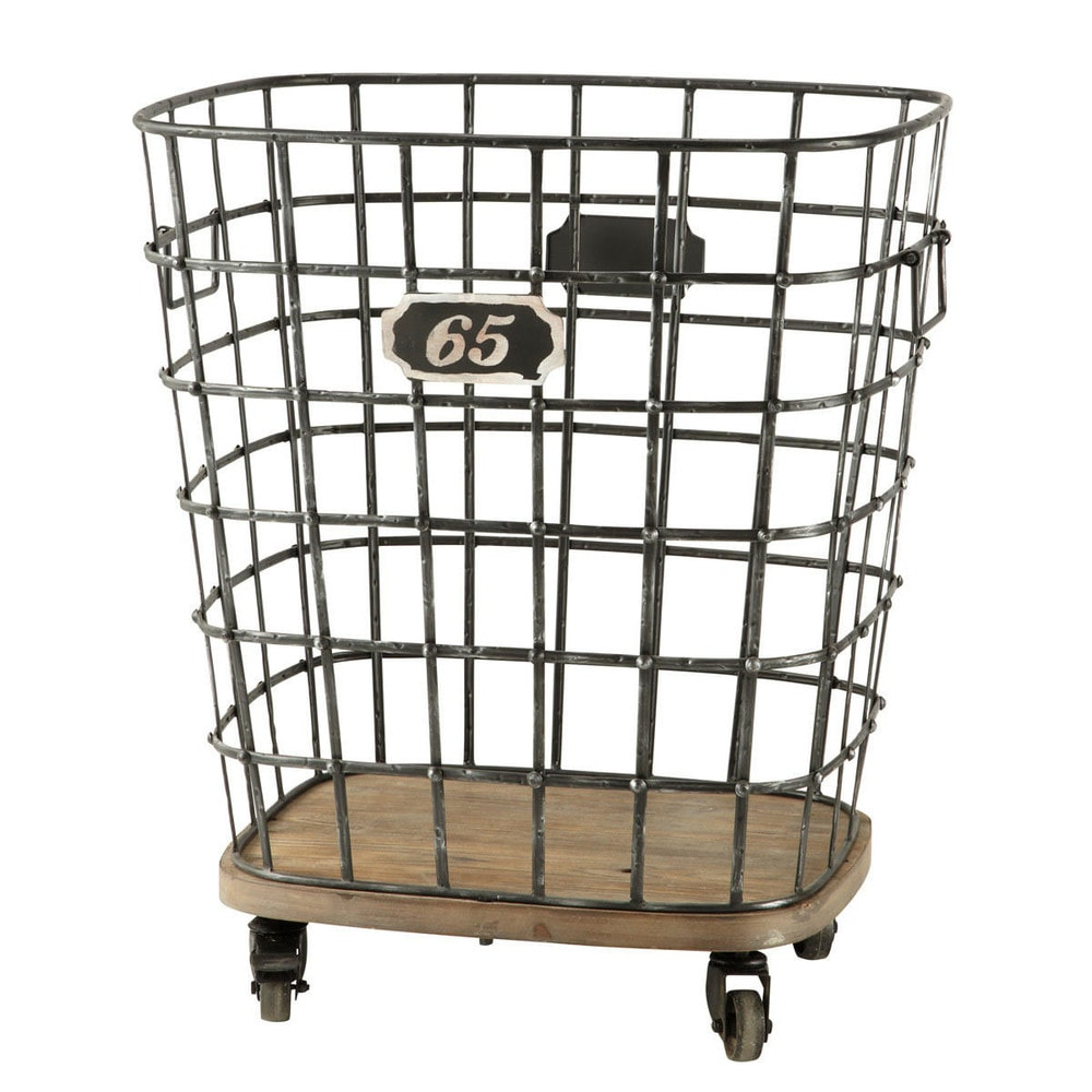 manufacture metal and wood basket on castors h 67cm. Black Bedroom Furniture Sets. Home Design Ideas