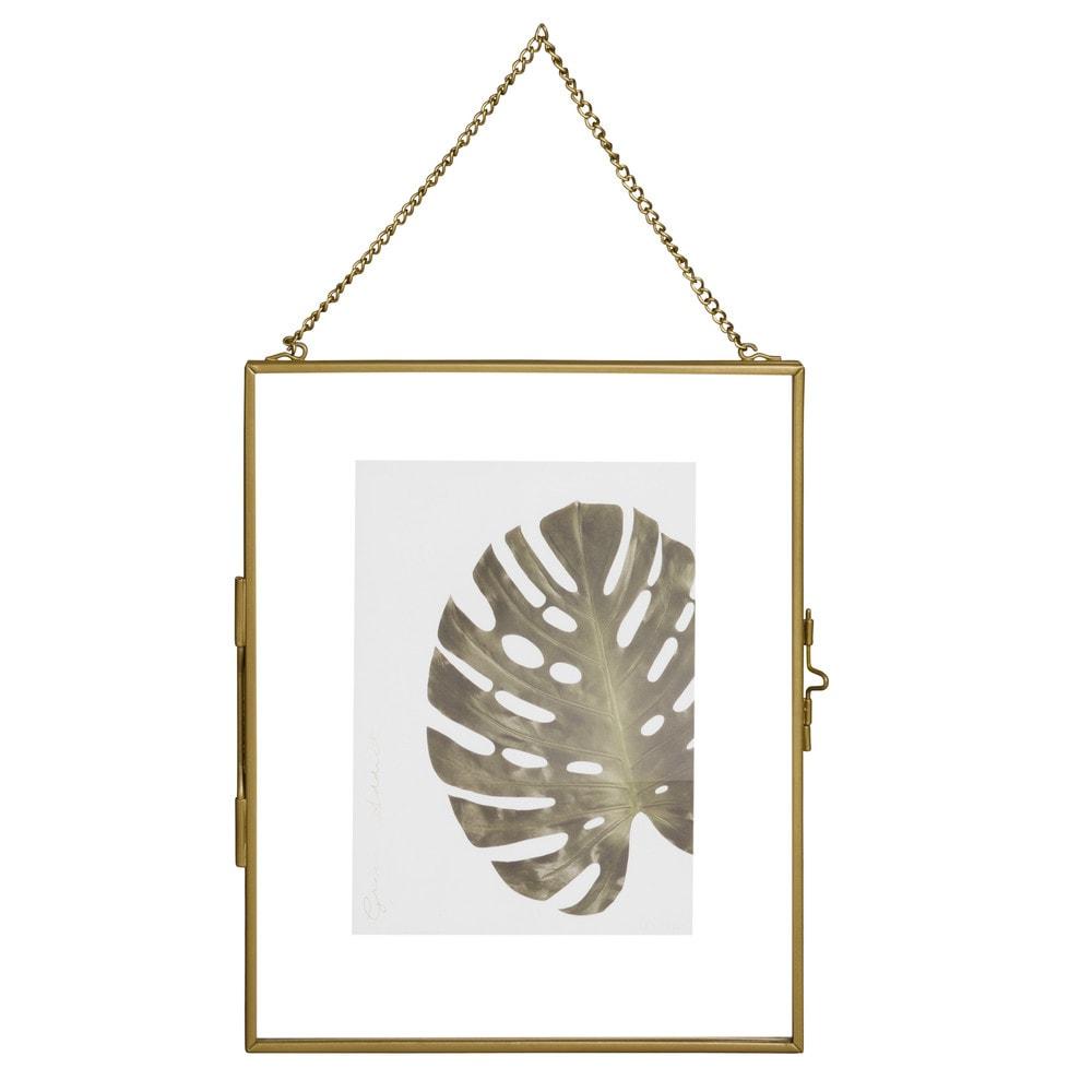 Marco de fotos 13x18 para colgar de vidrio y metal dorado - Marcos de fotos para colgar ...