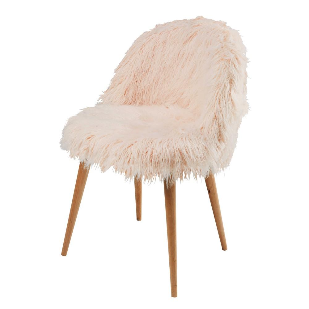 massief berkenhouten stoel met bekleding van roze imitatiebont mauricette maisons du monde. Black Bedroom Furniture Sets. Home Design Ideas