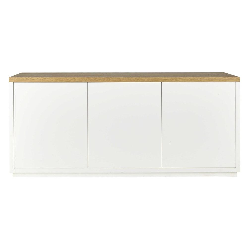 Massief eiken dressoir wit gesatineerd breedte 175 cm for Credenza bassa maison du monde