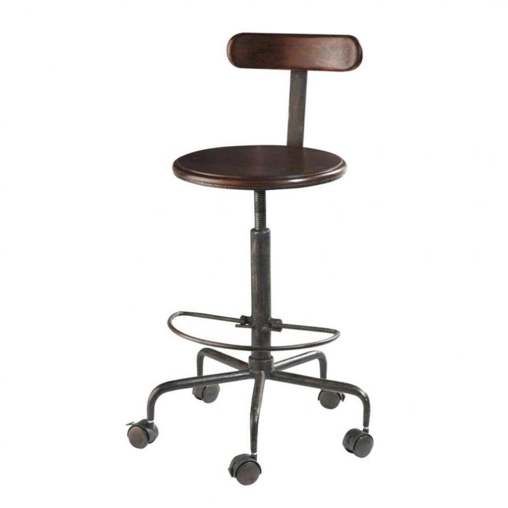 Massief sheesham-houten en metalen industriële hoge bureaustoel op ...