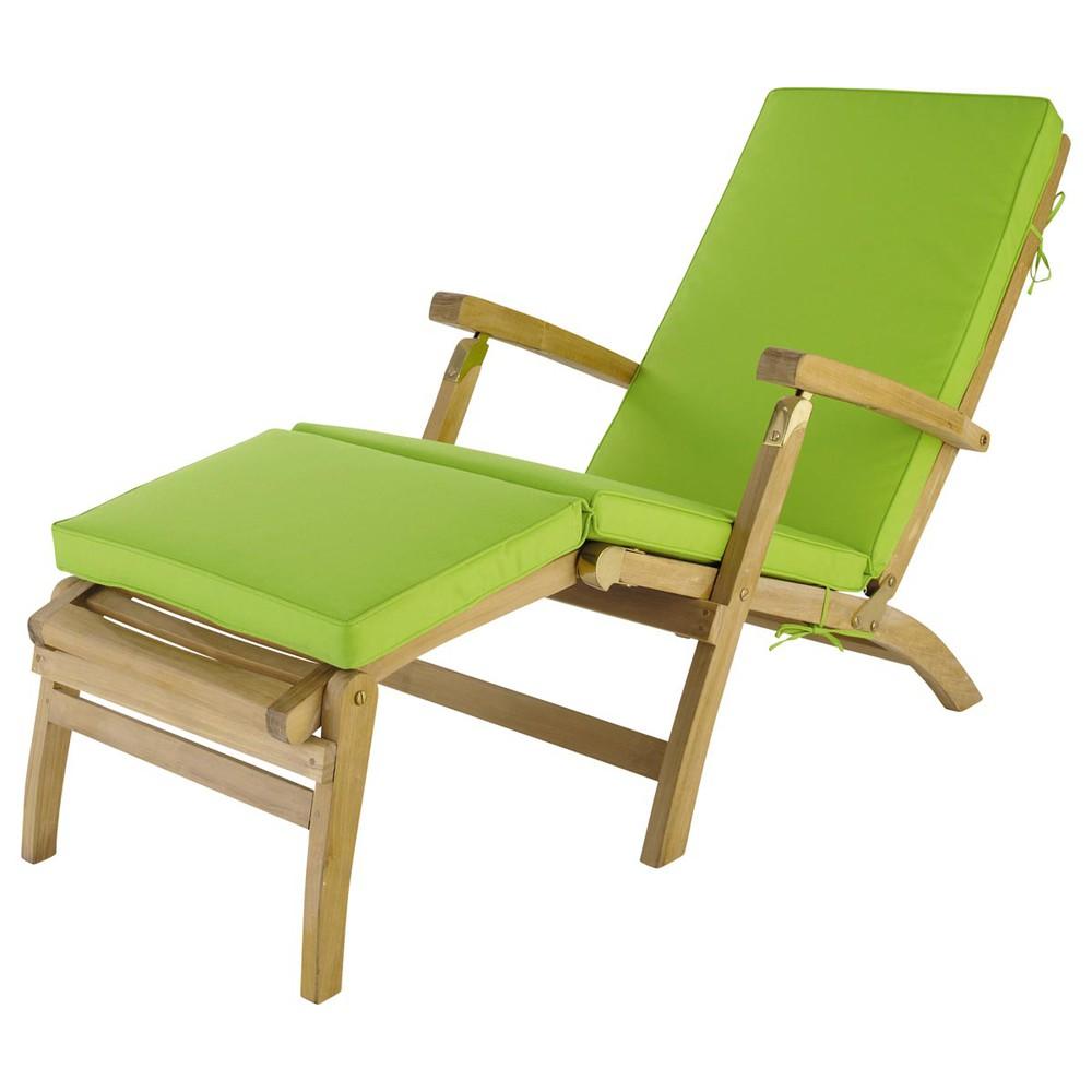Matelas chaise longue vert l 185 cm ol ron maisons du monde for Chaise longue jardin maison du monde
