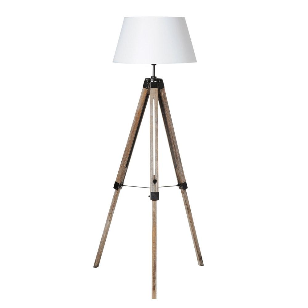 Matelot Wood And Fabric Tripod Floor Lamp H 146cm