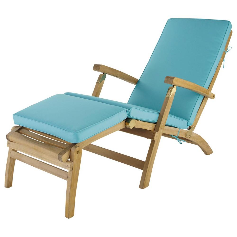Materasso turchese per chaise longue l 185 cm ol ron - Maison du monde chaise longue ...