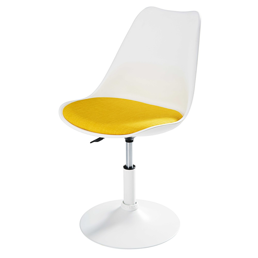 matte white metal and yellow fabric chair circle | maisons du monde - Chaise Tulipe Maison Du Monde