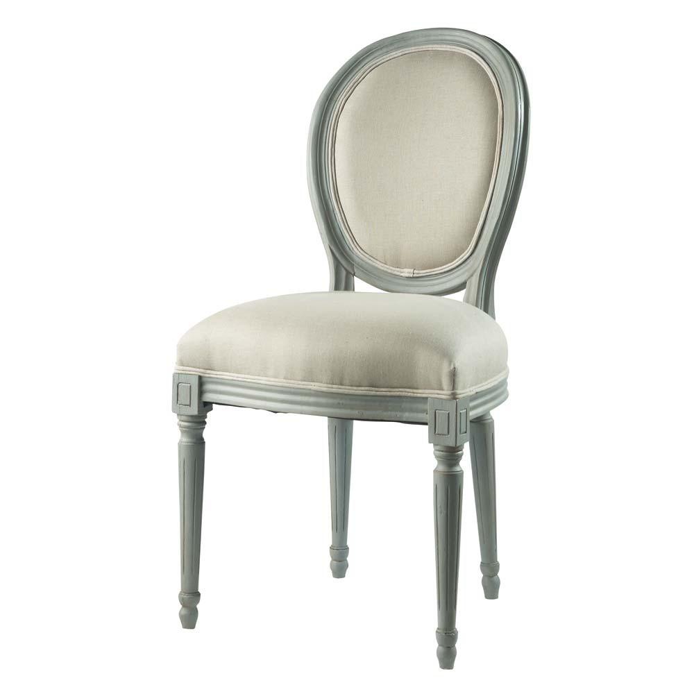 medaillon stuhl aus grauem holz mit leinenbezug louis maisons du monde. Black Bedroom Furniture Sets. Home Design Ideas