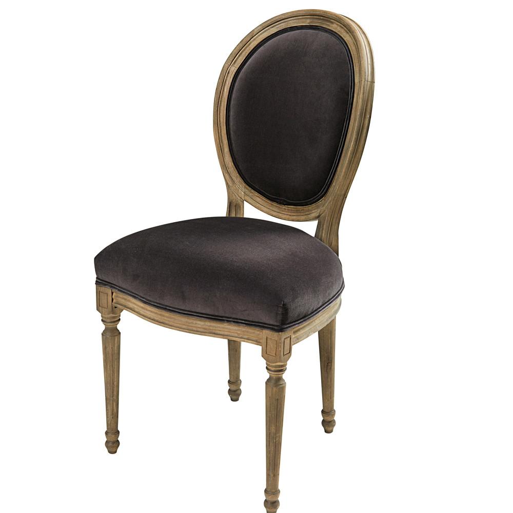 medaillonstuhl aus massiveiche mit anthrazitfarbenem. Black Bedroom Furniture Sets. Home Design Ideas
