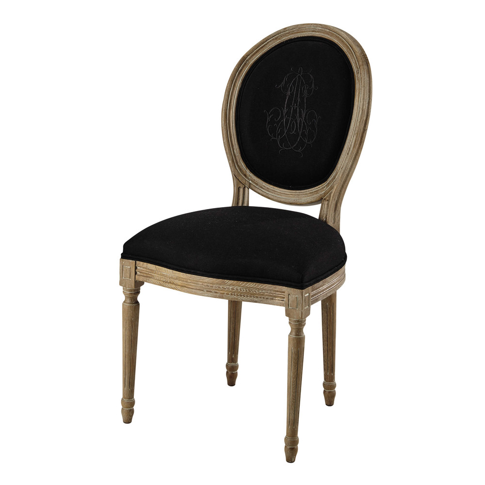 Medallion chair in black linen and greyed oak Louis