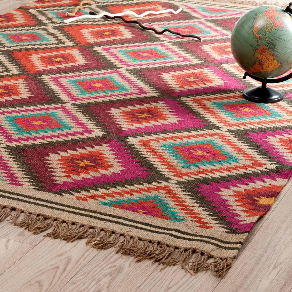Meerkleurig gevlochten wollen acapulco tapijt 140 x 200 cm maisons du monde - Acapulco tapijt ...