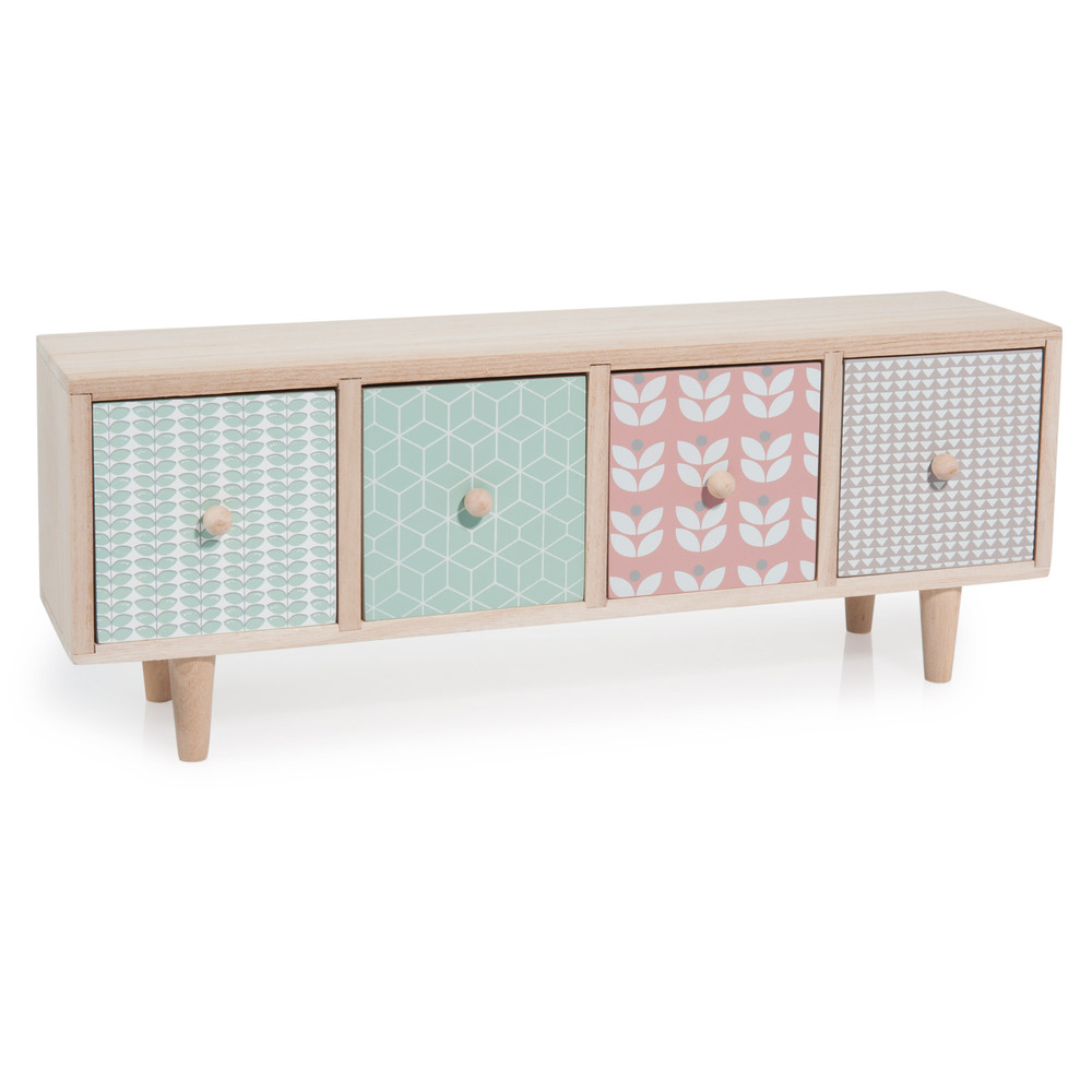 Melina wooden 4 drawer box multicoloured w 45 cm for Boite a chapeau maison du monde