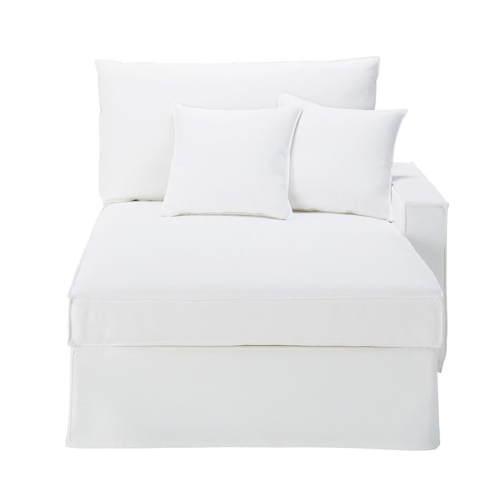 M ridienne accoudoir droit en coton et lin blanc enzo maisons du monde - Canape en lin blanc ...