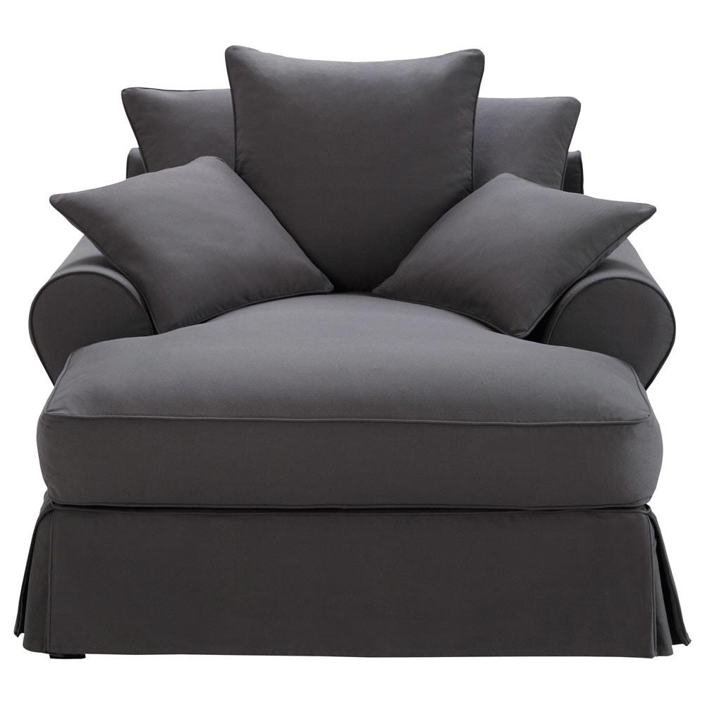 m ridienne en coton gris ardoise bastide maisons du monde. Black Bedroom Furniture Sets. Home Design Ideas
