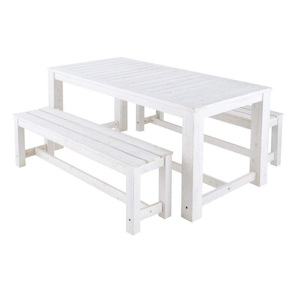 Mesa 2 bancos de jard n de madera blanca l 180 cm faro - Mesas de madera de jardin ...