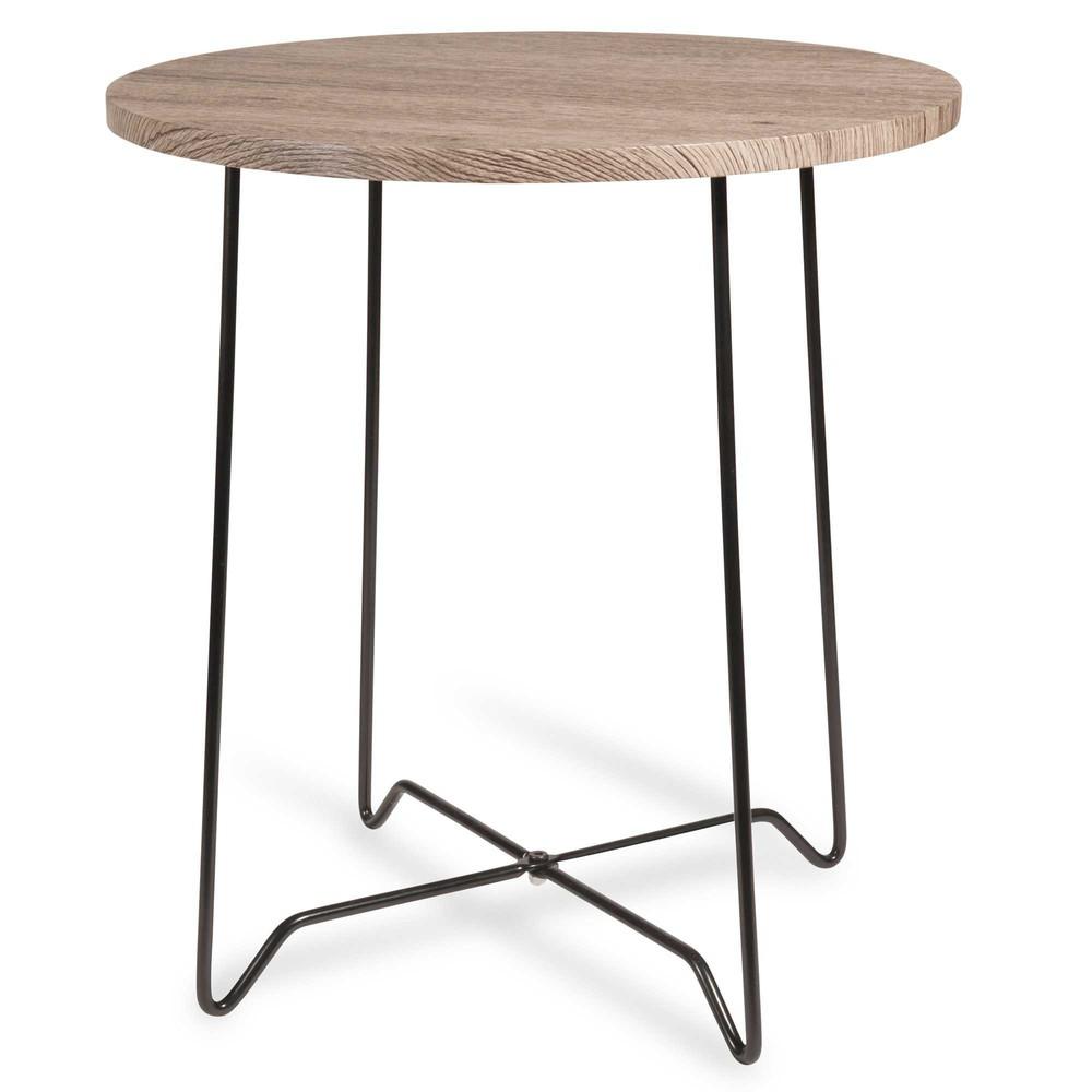 Mesa auxiliar color madera y metal negro avola maisons - Mesas auxiliares altas ...