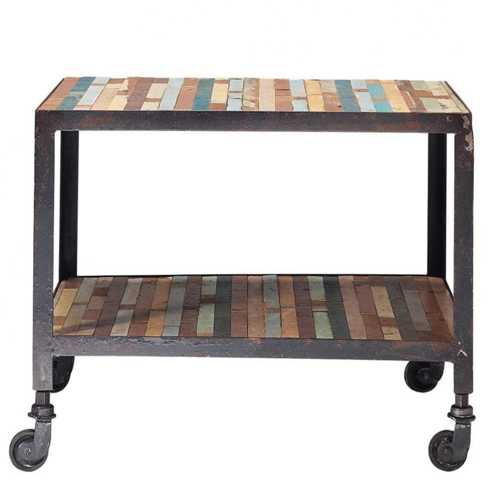 Mesa auxiliar con ruedas de madera multicolor an 45 cm - Mesas auxiliares maison du monde ...