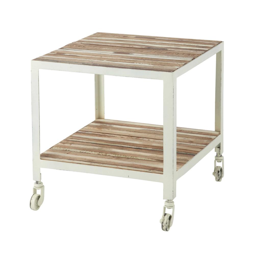 Mesa auxiliar con ruedas de metal blanco an 45 cm mistral - Mesas auxiliares maison du monde ...