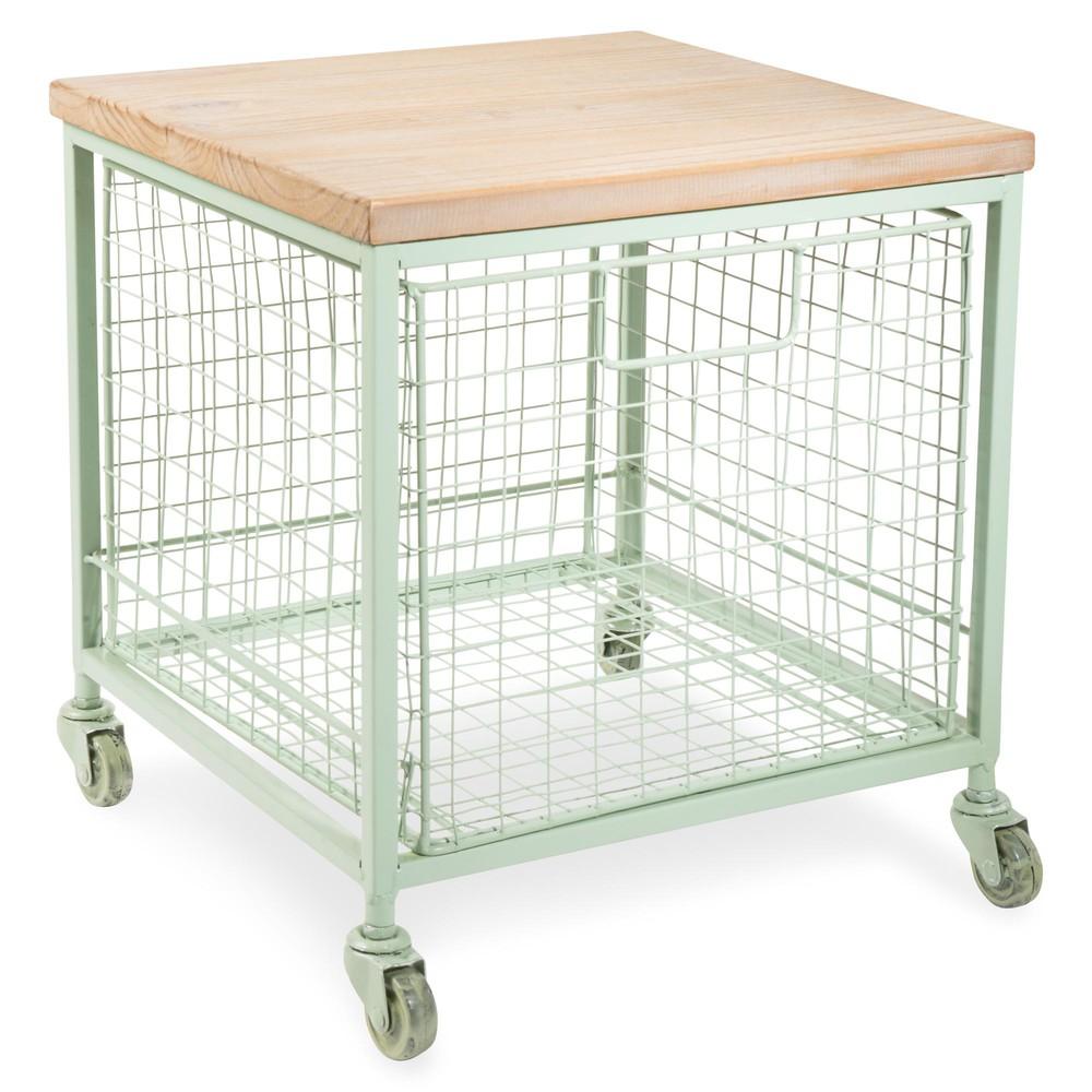 Mesa auxiliar con ruedas de metal verde l 36 cm garden - Mesa auxiliar con ruedas ...