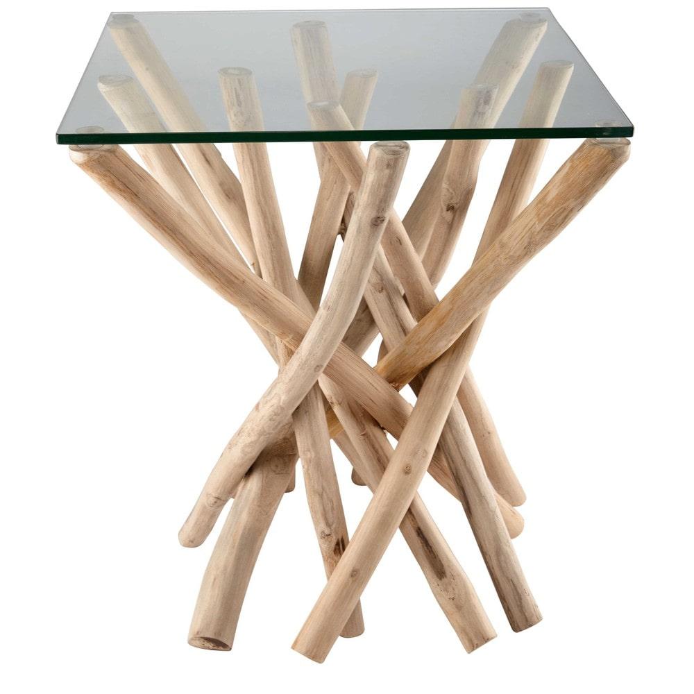 Mesa auxiliar de cristal y brazos de teca alga maisons for Mesas auxiliares de cristal