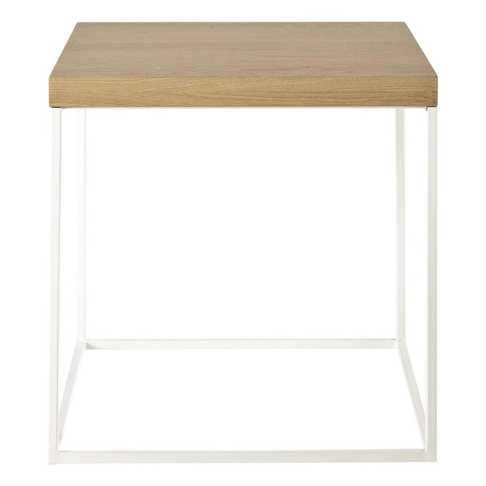 mesa auxiliar de metal blanca an 45 cm austral maisons