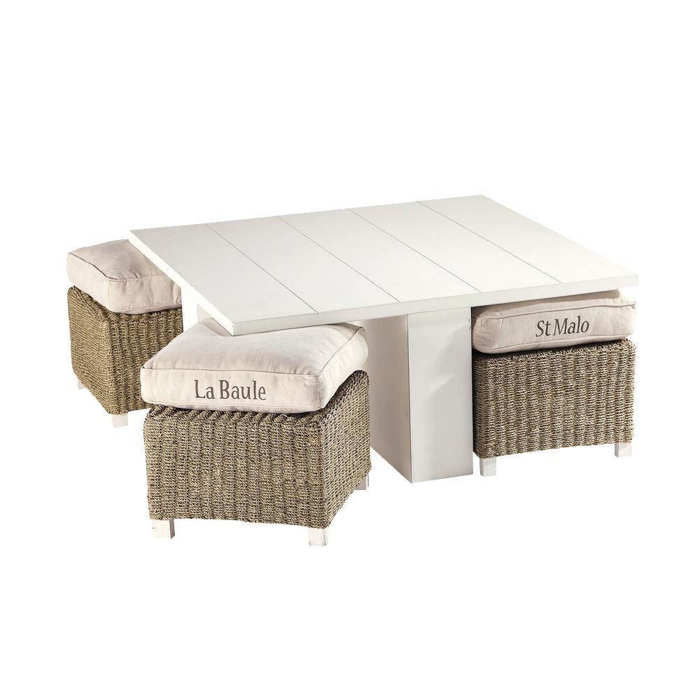 mesa baja 4 taburetes de madera blanca an 95 cm freeport maisons du monde. Black Bedroom Furniture Sets. Home Design Ideas