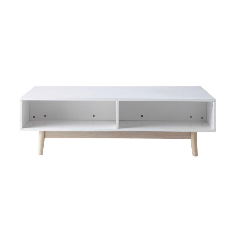 Mesa baja con compartimento de almacenaje de madera blanca for Mesa redonda blanca 120 cm