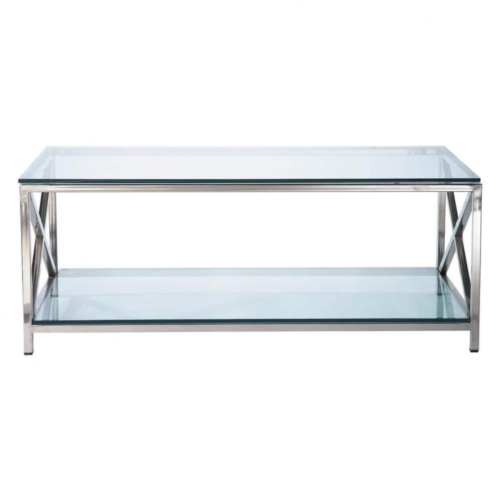 Mesa baja de cristal y metal an 110 cm helsinki maisons for Mesa cristal 90 cm